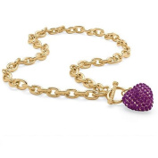 PalmBeach Jewellery 5285502 Crystal Heart Charm Birthstone Toggle Necklace in Yellow Gold Tone February - Simulated Amethyst
