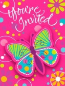 Creative Converting 895691 Butterfly Sparkle - Invitation Postcard with Attachment - Case of 48