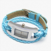 Best Desu 17324 Handmade Leather Bracelet Watch Blue