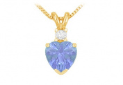 Fine Jewellery Vault UBUPDVHT600TZAGVY December Birthstone Tanzanite Heart Pendant with Cubic Zirconia in Gold Vermeil over 925 Silver