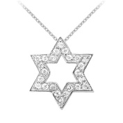 Fine Jewellery Vault UBNPD31518AGCZ 925 Sterling Silver Cubic Zirconia Star Pendant Necklace 0.25 CT TGW