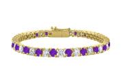 Fine Jewellery Vault UBBRAGVYRD131700CZAM Cubic Zirconia and Amethyst Tennis Bracelet with 7CT TGW on 18K Yellow Gold Vermeil. 18cm .