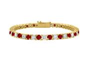 Fine Jewellery Vault UBBRAGVYRD131400CZGR Cubic Zirconia and Garnet Tennis Bracelet in 18K Yellow Gold Vermeil. 4CT. TGW. 18cm .