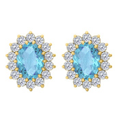 Fine Jewellery Vault UBUNER40120Y14CZBT Oval Created Blue Topaz and CZ Halo Stud Earrings in 14K Yellow Gold 2 CT TGW