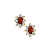 Fine Jewellery Vault UBNER40491AGVYCZGR Fancy Oval Garnet and CZs Halo Stud Earrings in 18K Yellow Gold Vermeil