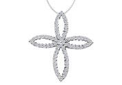 Fine Jewellery Vault UBPDR698W14D 1 Carat Diamond Set in 14K White Gold Clover Leaf Design Cross Pendant Necklace