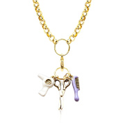 Whimsical Gifts 1403G-NL Beautician Charm Necklace In Gold