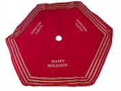 NorthLight 140cm . Red in. Happy Holidays in. Christmas Tree Skirt With Striped Trim
