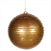 NorthLight 12cm . Antique Gold Glitter Striped Shatterproof Christmas Ball Ornament