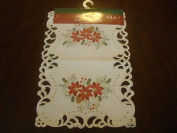 Tapestry Trading FQ32187-1454 36cm x 140cm . Embroidered Christmas Tri Poinsettia Cutwork Placemats