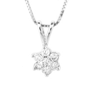Luis Creations PRL1305 0.18 Ct. Diamond Flower Cluster Pendant In 14K Gold