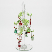 LSArts Green Leaf Christmas Tree Wine Charms with Wine Markers, 19cm