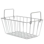 Silver Rectangular Wire Basket with Swing Handle - Small