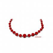 Fine Jewellery Vault UBUNKBK7205AGR Ruby Graduated Bead Necklace Sterling Silver 30 CT TGW July Birthstone Jewellery