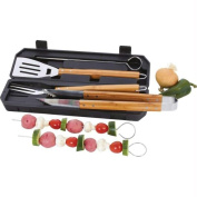 Chefmaster KTBQ7BAM Chefmaster 8pc Stainless Steel Barbeque Tool Set With Bamboo Handles