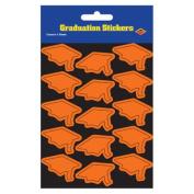 Beistle 54055-O Grad Cap Stickers Orange - Pack Of 12