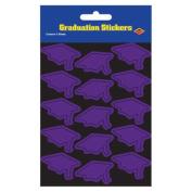 Beistle 54055-PL Grad Cap Stickers Purple - Pack Of 12