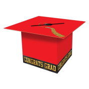 Beistle 57393-R Grad Cap Card Box Red - Pack Of 6