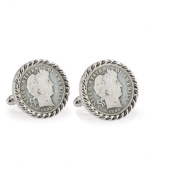UPM Global LLC 12717 1800s Silver Barber Dime Silvertone Rope Bezel Cuff Links