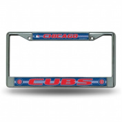 Rico Industries RIC-FCGL5301 Chicago Cubs MLB Bling Glitter Chrome Licence Plate Frame