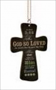P. Graham Dunn 127110 Car Charm Cross God So Loved With Chain 2.75 x 4