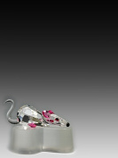 Asfour Crystal 660-2 1.61 L x 0.94 H in. Crystal Mouse - Rose Animals Figurines