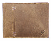 STARHIDE MENS STYLISH DISTRESSED HUNTER BROWN TAN LEATHER WALLET WITH COIN POCKET GIFT BOXED - 1050