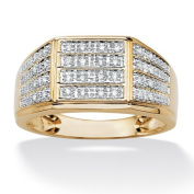 PalmBeach Jewellery 4877713 Mens .16 TCW Round Pave Diamond 18k Yellow Gold Over Sterling Silver Multi-Row Ring - Size 13