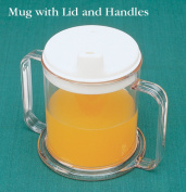 North Coast Medical NC36270 Transparent Drinking Mug with Two Handles and Lid & amp;#44; 300ml
