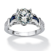 PalmBeach Jewellery 543766 3.28 TCW Round Cubic Zirconia and Sapphire Ring in Sterling Silver