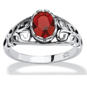 PalmBeach Jewellery 44096155 Oval-Cut Birthstone Ring in Sterling Silver July - Simulated Ruby - Size 8