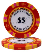 Bry Belly CPMC-$5 25 Roll of 25 - $5 Monte Carlo 14 Gramme Poker Chips