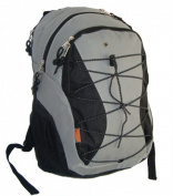 K-Cliffs Backpack With 3 Compartment & 1 CD Pouch - 18.5 x 30cm x 23cm . Grey & Black