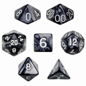 Brybelly GDIC-1120 7 Die Polyhedral Dice Set in Velvet Pouch - Smoke