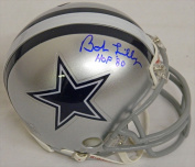 Bob Lilly Signed Cowboys Riddell Replica Mini Helmet with HOF 80