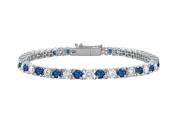 Fine Jewellery Vault UBUBRAGRD131300CZS Sterling Silver Round Created Sapphire and Cubic Zirconia Tennis Bracelet 3 CT TGW
