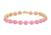 Fine Jewellery Vault UBUBR55Y14PS 14K Yellow Gold Prong Set Round Pink Sapphire Bracelet 12 CT TGW September Birthstone Jewellery