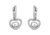 Fine Jewellery Vault UBERBK22W18D Brilliant Cut Diamond Floating Heart Earrings in 18K White Gold 1.50 Carat Diamonds