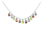 Fine Jewellery Vault UBNC519AGVYMC Multicolor Gemstone Necklace in 925 Sterling Silver 7 CT TGW