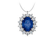 Fine Jewellery Vault UBUPDS85654W14OV86CZS Oval Created Sapphire and CZ Halo Pendant in 14kt White Gold 1.25.ct.tgw