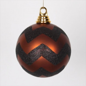 NorthLight 12cm . Copper Matte And Black Glitter Chevron Shatterproof Christmas Ball Ornaments