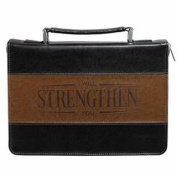 Christian Art Gifts 694356 Bible Cover-Classic & Strength Medium - Black & Brown