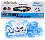 Undee Bandz Rubbzy 100 HANUKKAH WHITE & BLUE GLOW-in-the-DARK Tie-Dye Rubber Bands with Clips
