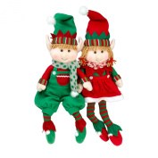 Elf Plush Christmas Stuffed Toys- 46cm Boy and Girl Elves (Set of 2) Holiday Plush Characters