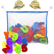 Bath Toy Organiser with FREE 36 Alphabet Letters for Bath | The Best Bath Toy Storage Solution with Educational Bath Toys - Bath Letters and Numbers | GET IT NOW WITH BONUS - TODDLER CARE GUIDE BOOK