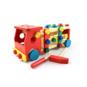 Koly Kids Educational Xylophone Wooden Toy Disassembly Screw Vehicle Car Truck Knock Ball Novelty Chidren Gifts