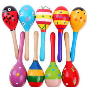 E support™ New Wooden Maraca Wood Rattles Egg Shaker Kids Musical Party Favour Kid Baby Shaker Sand Hammer Toy