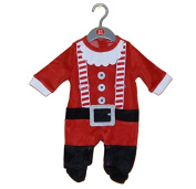 Gorgeous Baby Boy's 1st Christmas Velour Santa All in One Suit