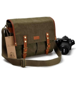 ZLYC Unisex Vintage Genuine Leather and Canvas Removable Padded Insert Camera Messenger Shoulder Bag for DSLR Camera and Lens, Green