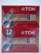 TDK Superior Normal Bias D60 Blank Recordable Cassette Tapes 12-Pack